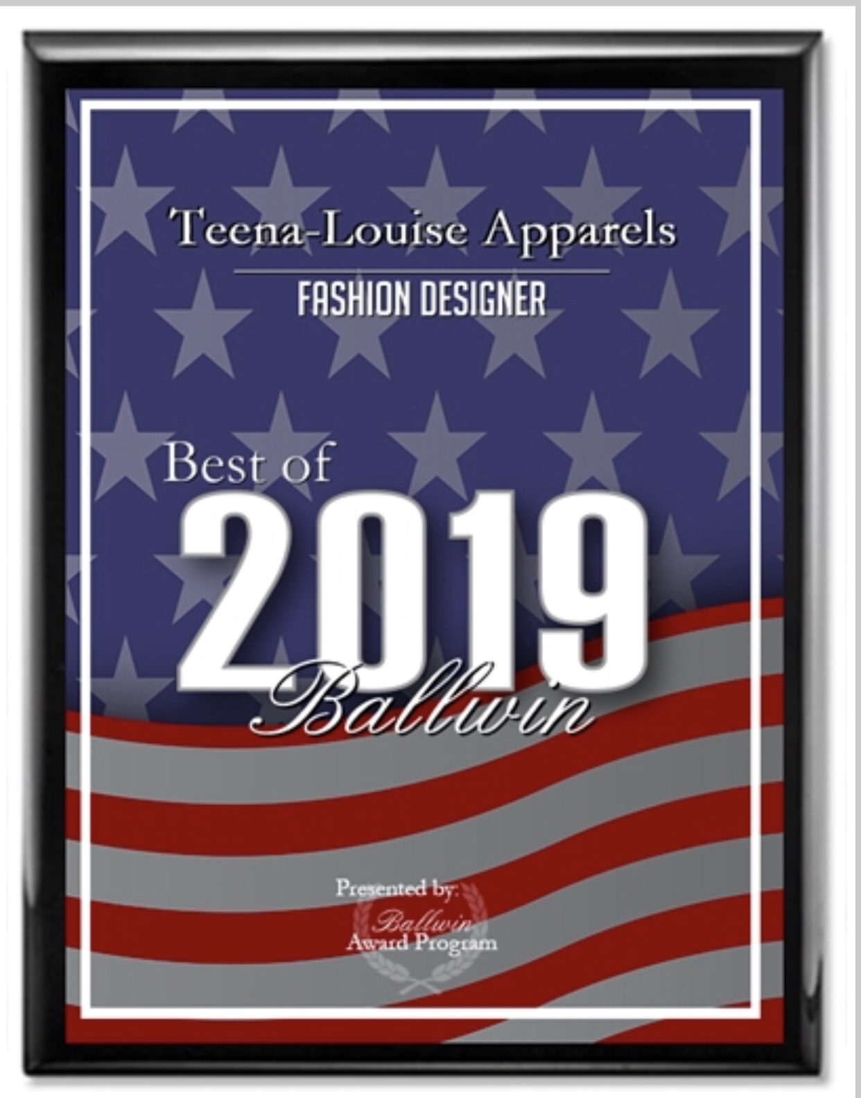 2019 Best of Ballwin Awards in the category of Fashion Designer